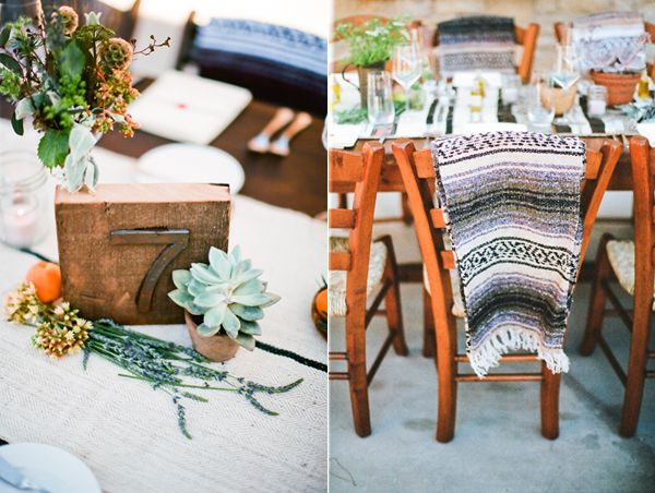 Mexican Blanket Rustic Wedding Decor Table Number