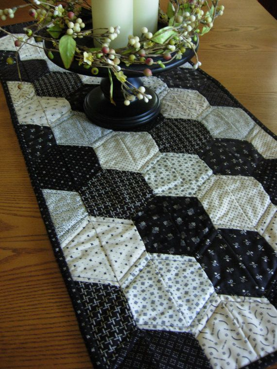 Black And White Hexagon Table Runner In Civil By