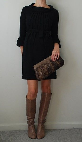 Love The Lighter Brown Boots With The Black Sweater Dress Fashion