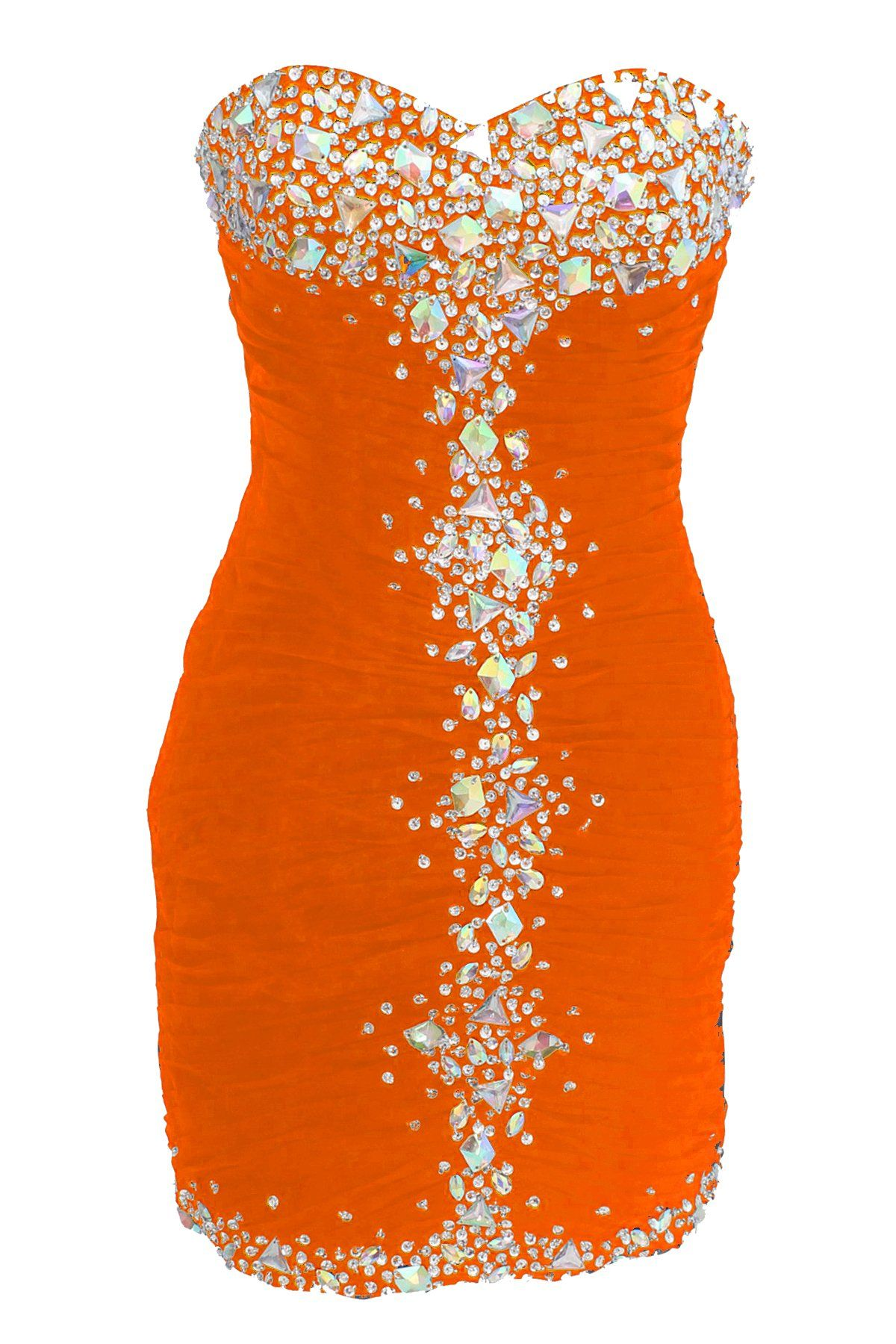 Dressystar short sheath orange prom evening prom dresses size