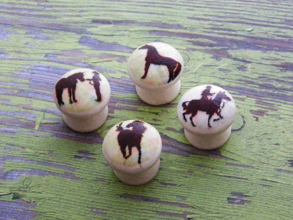 Horse Girl Decorative Knobs..Equestrian Decor..Dresser Cabinet Knobs  Pulls..Hand Decorated Farmhouse Wooden Knobs..Set Of 5