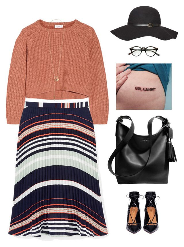 """""""Girl almighty"""" by cette-femme ❤ liked on Polyvore featuring Brunello Cucinelli, Rebecca Minkoff, Coach, Maison Margiela, Aquazzura, Dorothy Perkins and PolyPower"""