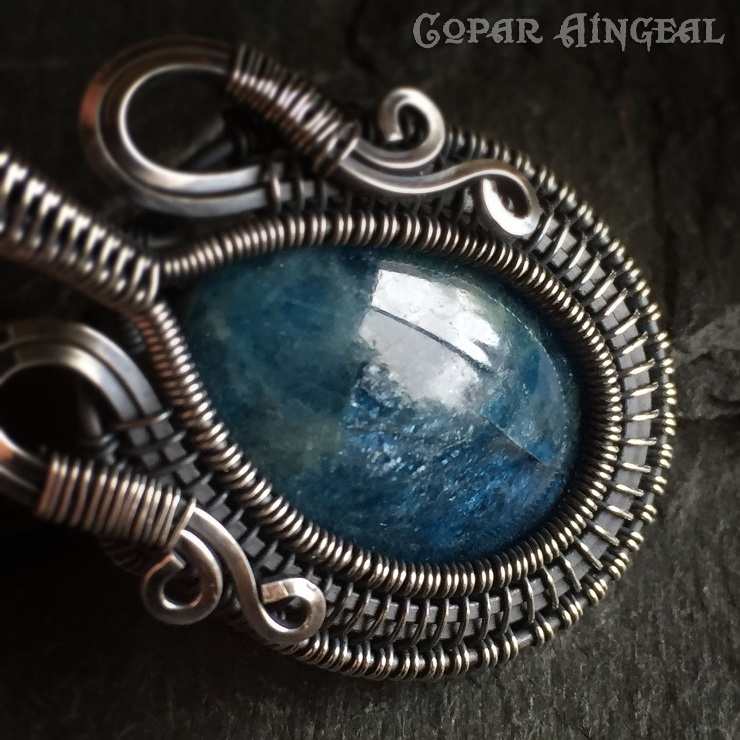 Apatite Cabochon Wire Wrapped in Oxidized Sterling Silver Pendant - Chain Included by CoparAingeal on Etsy