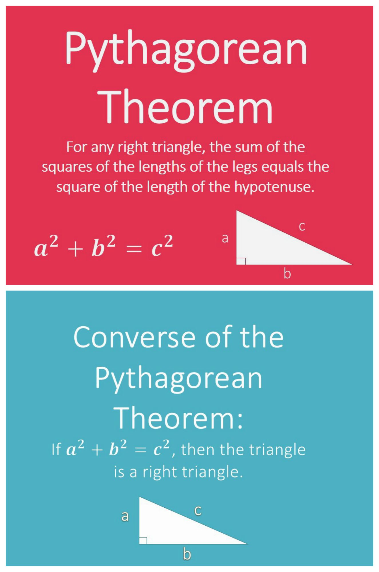 pythagorean theorem converse mini posters 8.g. 6 7 geometry word