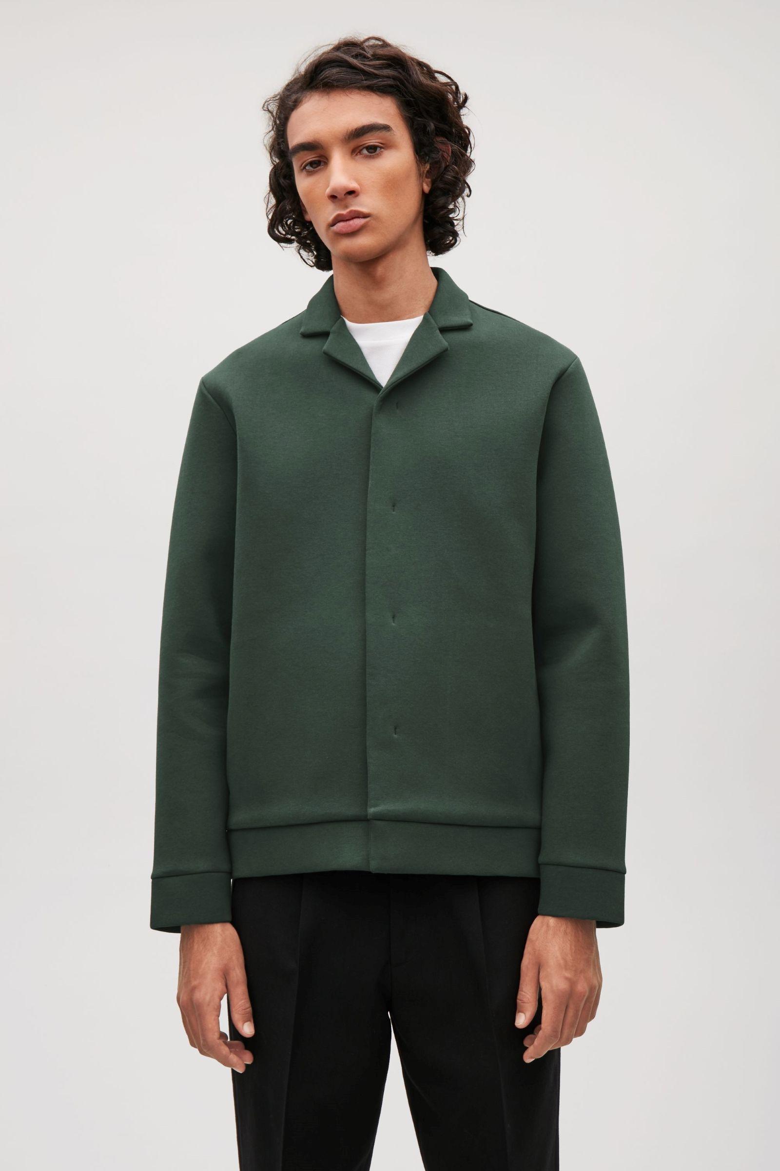 13d79f04a7e8 COS image 2 of Collared scuba jacket in Dark green   Male Wardrobe ...