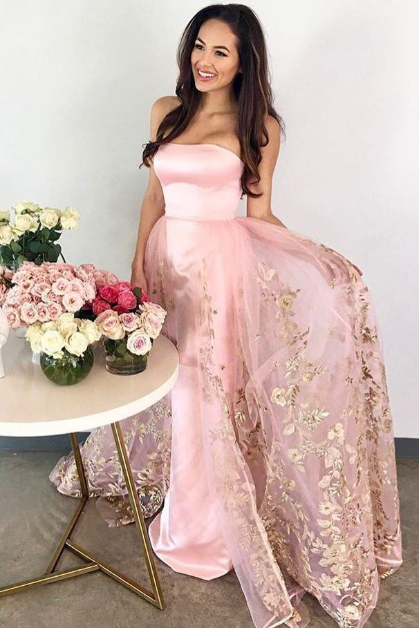 A-Line Strapless Floor-Length Pink Prom Dress with Appliques ...