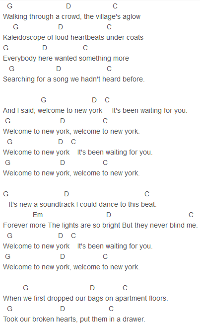 Taylor Swift - Welcome To New York Chords | Guitar | Pinterest ...