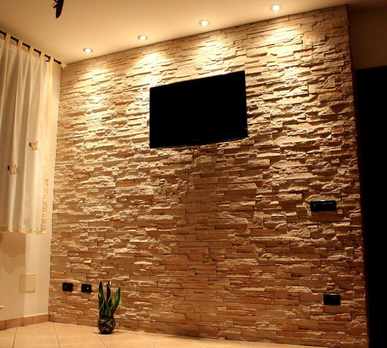 Wall rivestimento della parete in pietra ricostruita live - Parete salotto in pietra ...