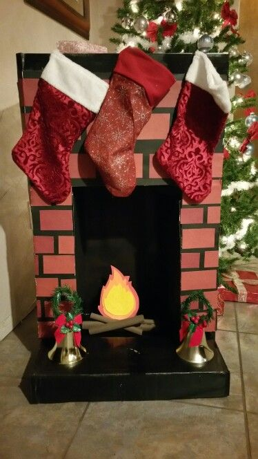 Faux Fireplace Used Old Bookshelf Trifold Poster Board Used On
