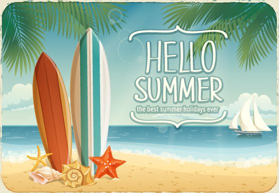 Best Summer Holiday Beach Vector Background Free Vector In Encapsulated Postscript Eps Eps Vector Illustr Beach Art Vector Summer Backgrounds Hello Summer