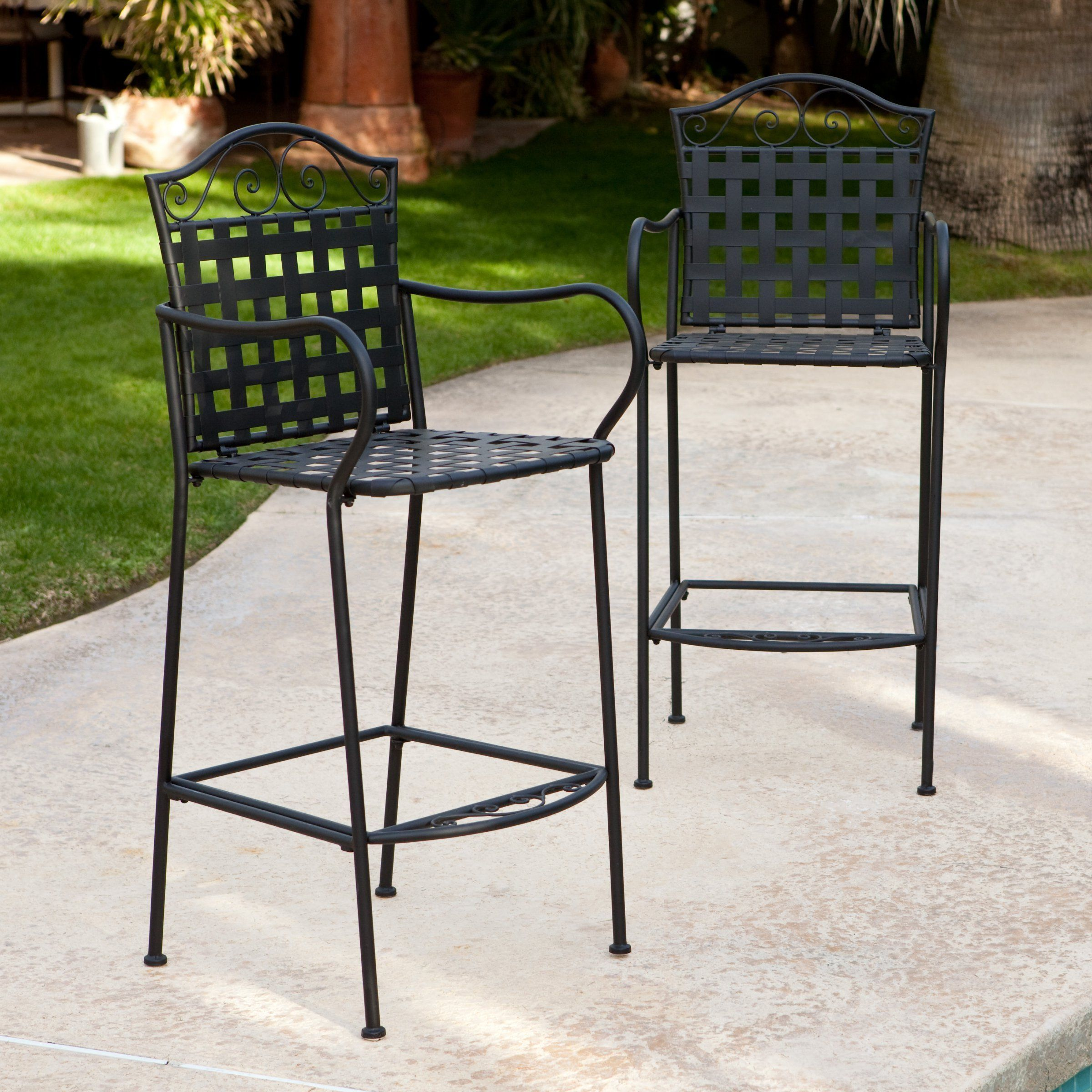 Woodard capri wrought iron outdoor bar stool set of seat