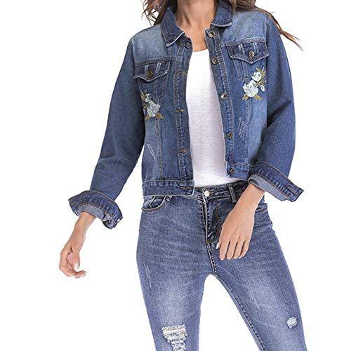 sale retailer fe851 42ae8 QIYUN.Z Moda Donna Giacca di Jeans Ricamata Femminile a ...