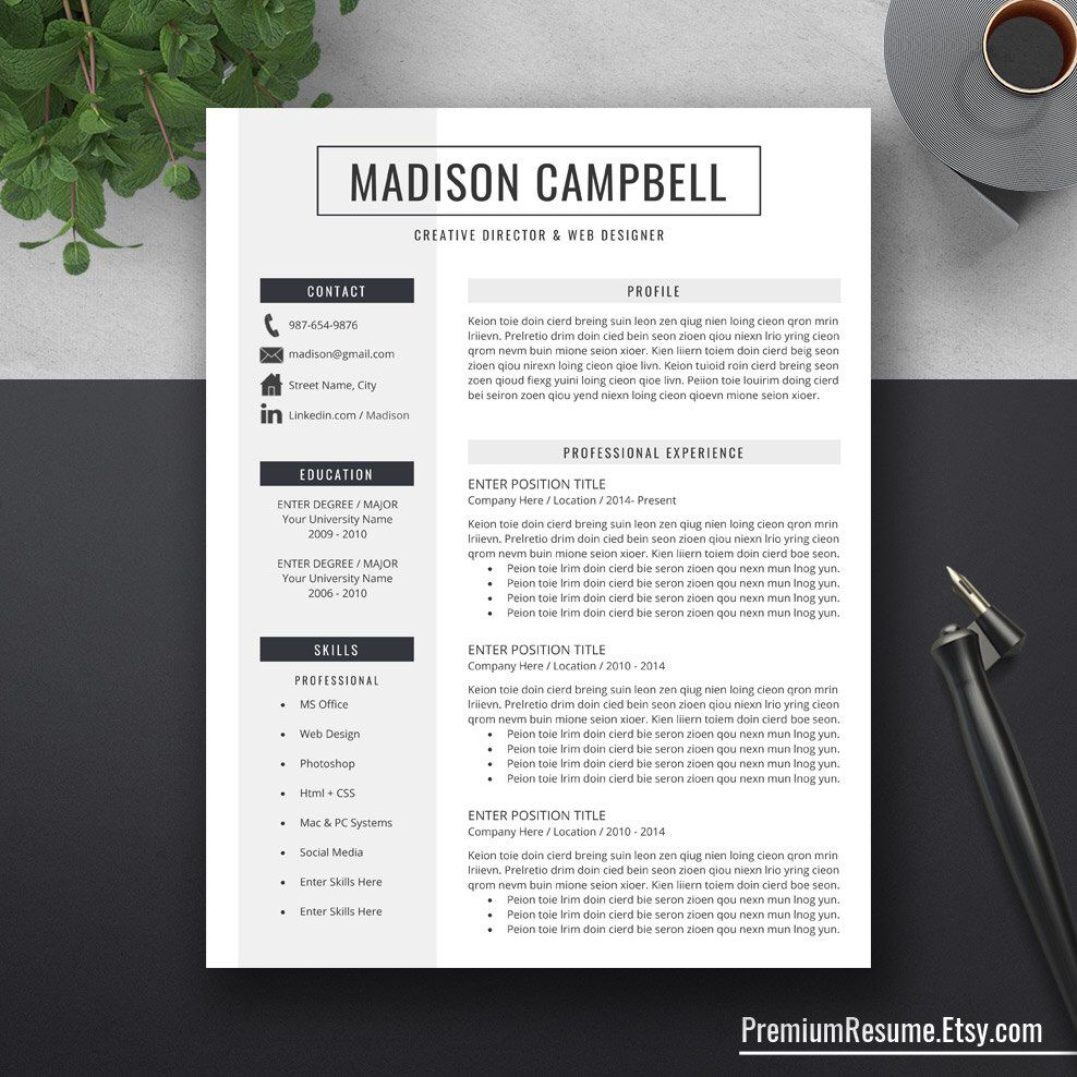 Creative Resume Template Cover Letter Word Us