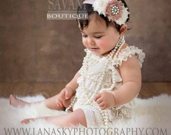 7c1c6c993 Baby lace romper,2 pcs cream ,romper and headband. Petti Romper Set. Lace  Petti Romper ,Baby Girl Photo Prop,Flower girl lace outfit, romper
