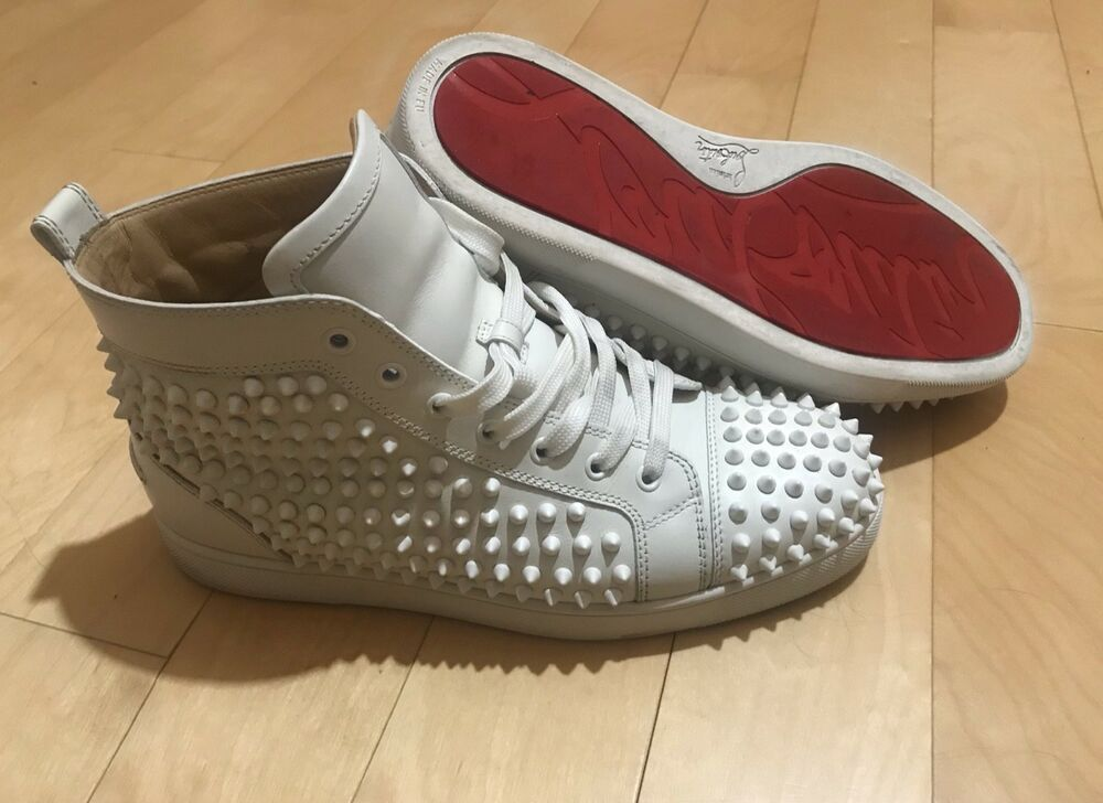55ef3c4dab0 Mens Christian Louboutin High Top Spike Flat Sneakers Size 42 White Silver   fashion  clothing  shoes  accessories  mensshoes  casualshoes (ebay link)