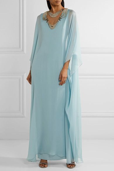 Discount Purchase Buy Cheap With Paypal Tulle-paneled Embellished Silk-chiffon Gown - Sky blue Reem Acra High Quality Sale Online Hot Sale Browse Cheap Price cwNHxrs