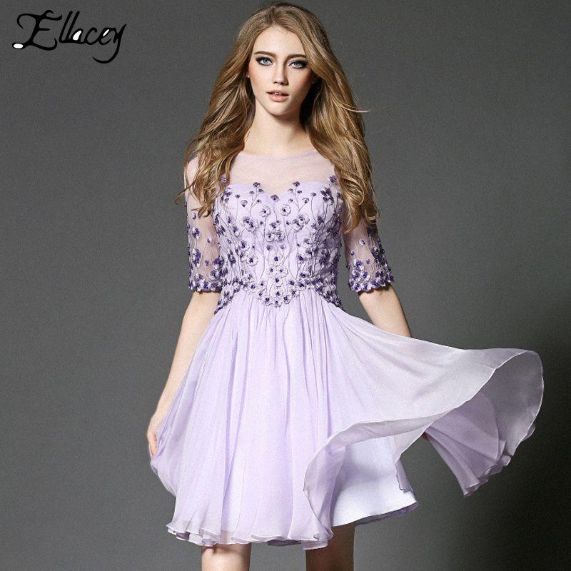 New 2016 Women Dress High-end Cute Floral Embroidery Tutu Dress Mesh Beading Summer Dress Fairy Princess Party Dresses