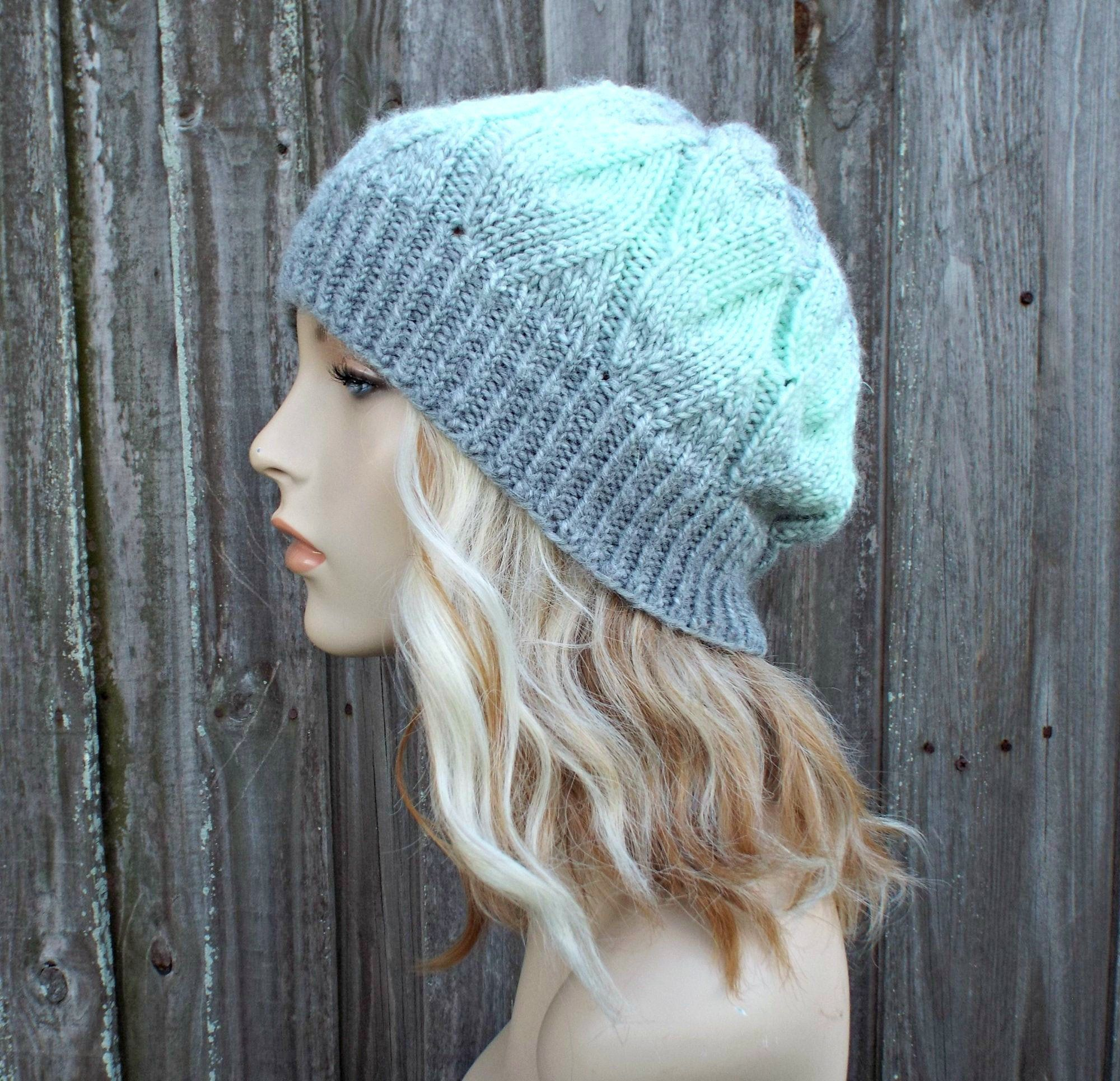 Slouchy beanie in gray,taupe cream and green mix stripes
