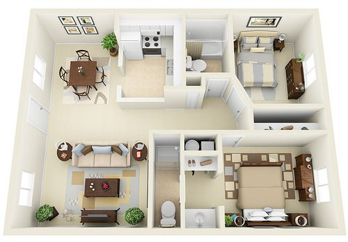 2-2 - 3D Floor Plan Apartments, 3d and Sims
