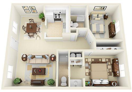 2 2 3d Floor Plan Small House Plans Apartment Floor Plans 3d House Plans