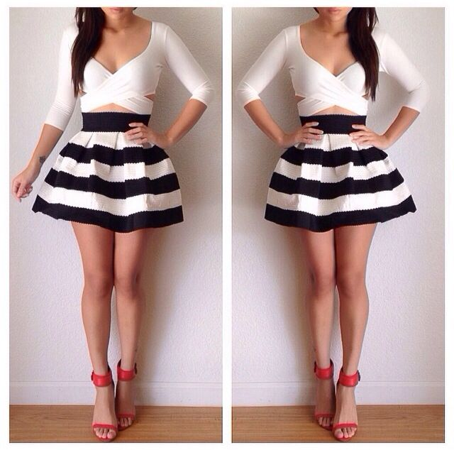 Loose striped skirt black and white. White crop top, red