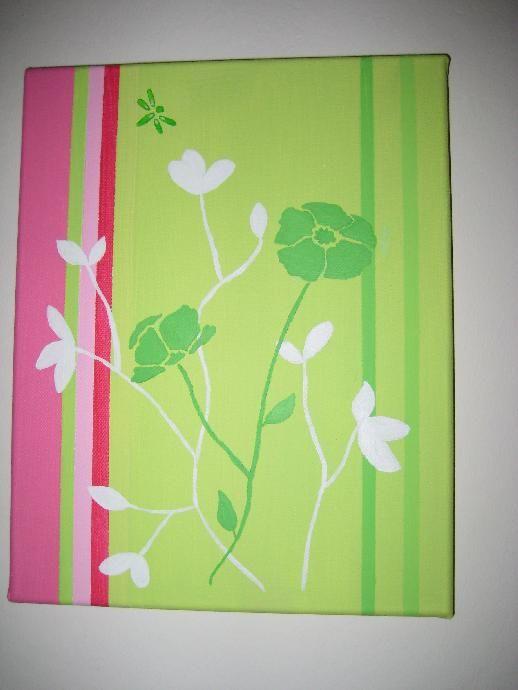 Attrayant Tutoriel Tableau FLEURS   Rose Et Vert Anis (Tableaux Home Déco)    Femme2decoTV