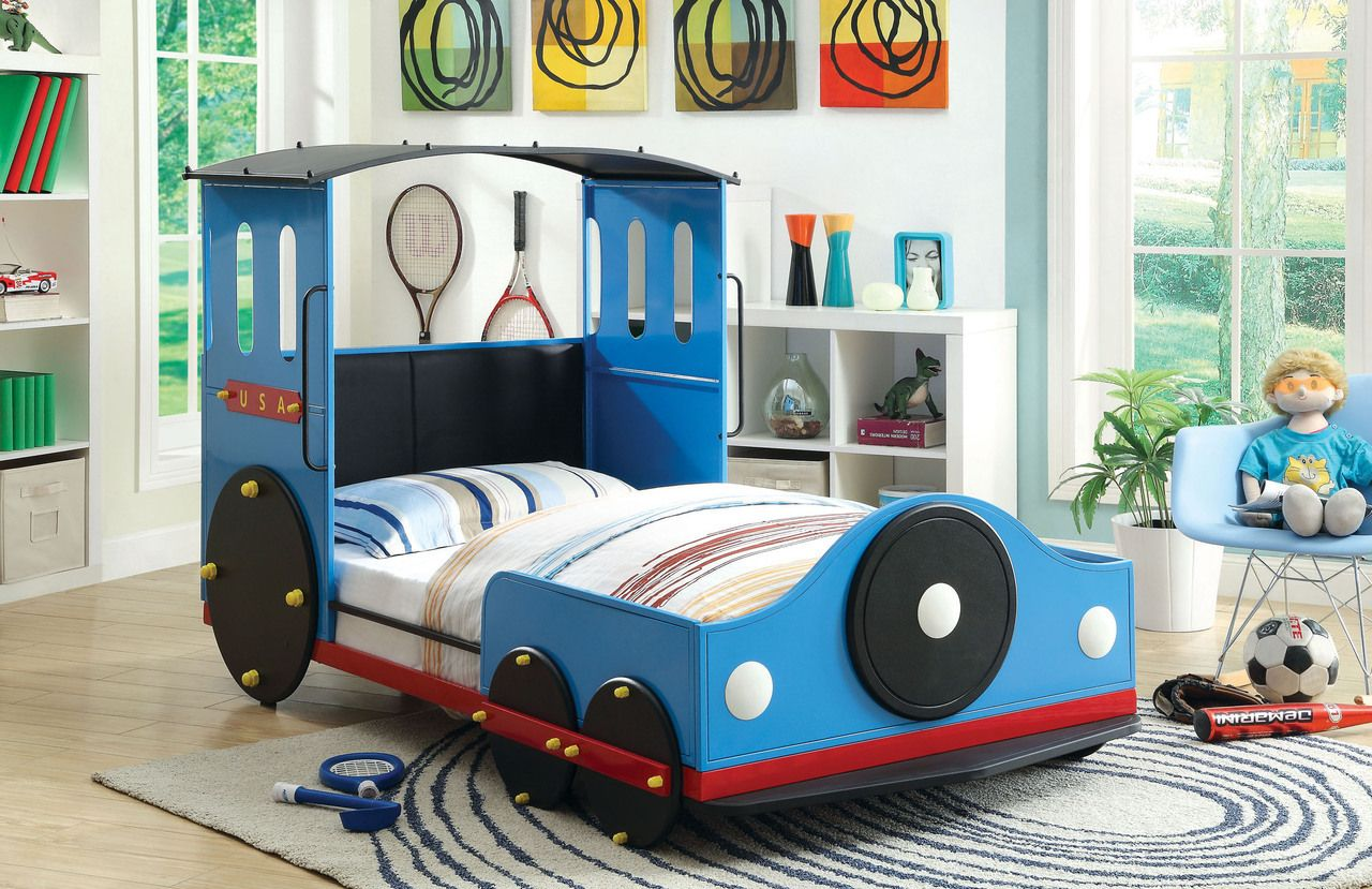 Retro Train Twin Metal Car Bed Frame Train Bed Kid Beds