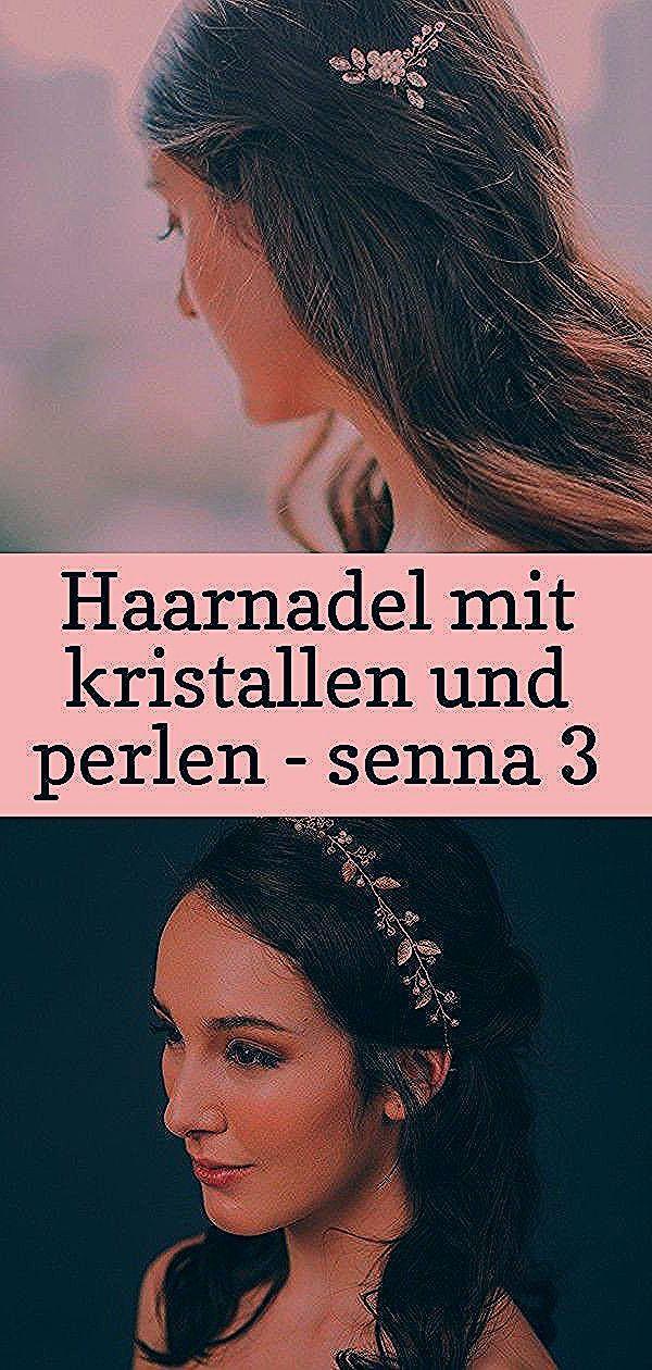 noni  Haarnadel mit Kristallen und Perlen  Senna Haarschmuck mit Perlen und Blättern in Gold Schulterlange Haarrückansicht Haare flechten bei kindern