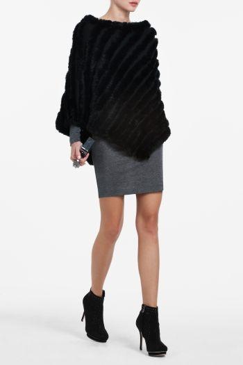 black fur poncho $398
