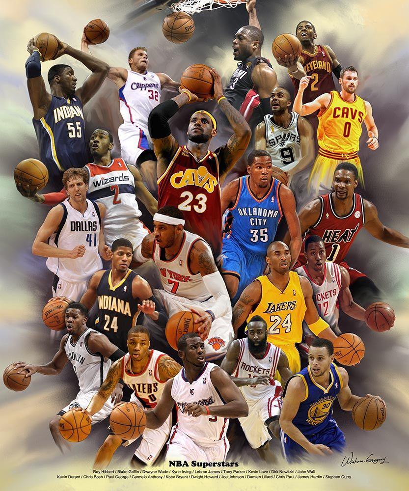 Nba Superstars Revised 2014 Version By Wishum Gregory Nba Nba Basketball Art Best Nba Players