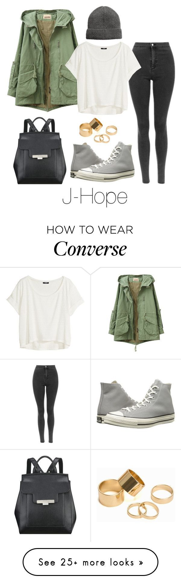 J-Hope Inspired w/ Converse by btsoutfits on Polyvore featuring H&M, Nine West, Pieces and Converse #schooloutfit