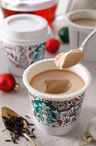 本日発売 スタバ新作 ミルクティープリン 3種類の茶葉を使用 スターバックス ミルクティープリン スタバ 新作 プリン スタバ