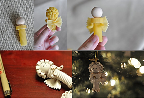 bricolaje ornamentos de navidad Pasta ángeles artesanías