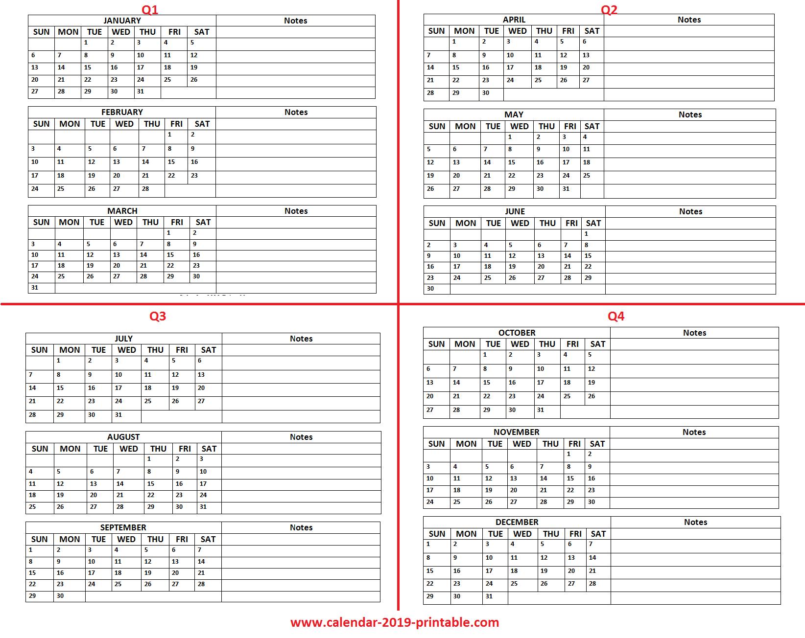 Quarter Calendar 2019 2019 quarterly calendar | 2019 Calendars | Quarterly calendar