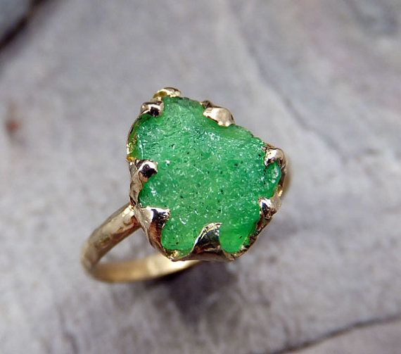 As Seen In Vogue Raw Emerald Ring In 14k Yellow Gold Green Uncut