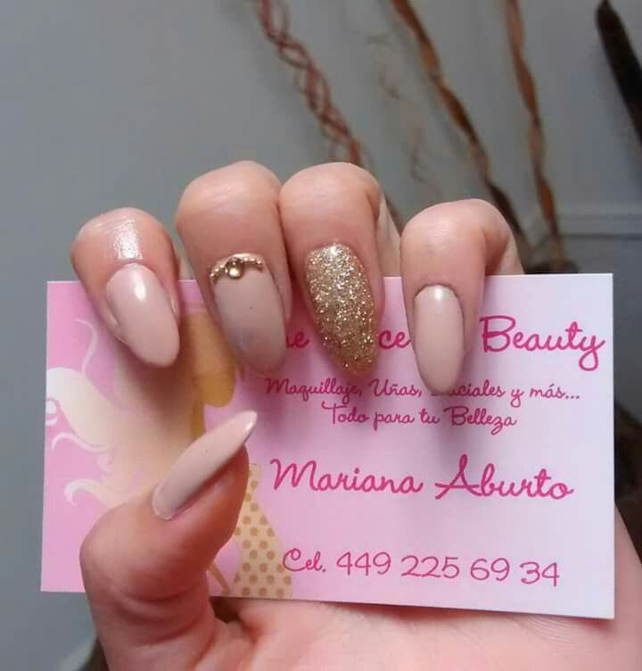 Nude gold nails