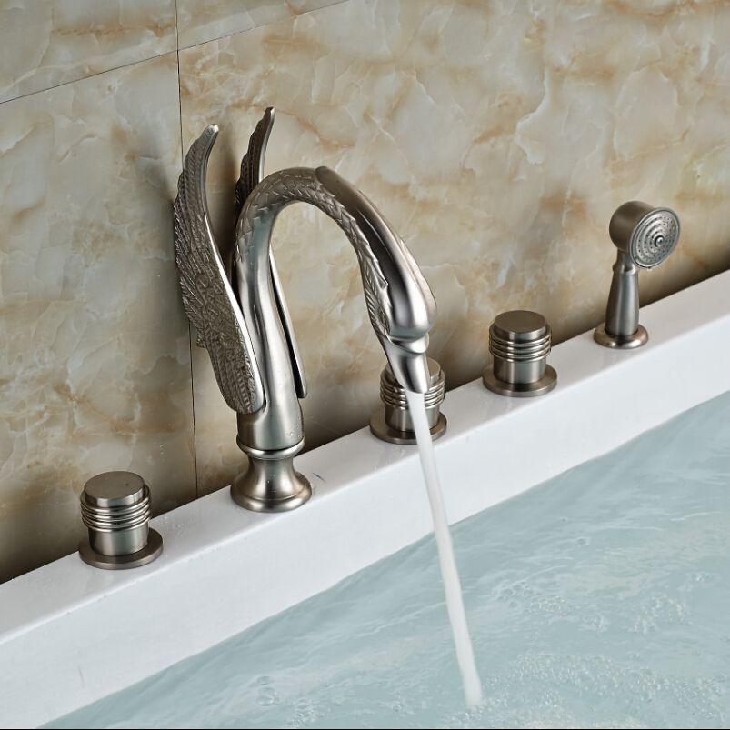 Creative Swan Shape 5pcs Deck Mount Bathroom Bathtub Faucet ...