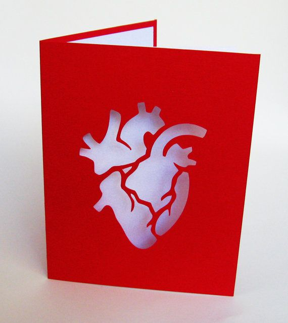 Anatomical Heart Valentine Red White Cut Paper Silhouette Art – Valentine Heart Cards
