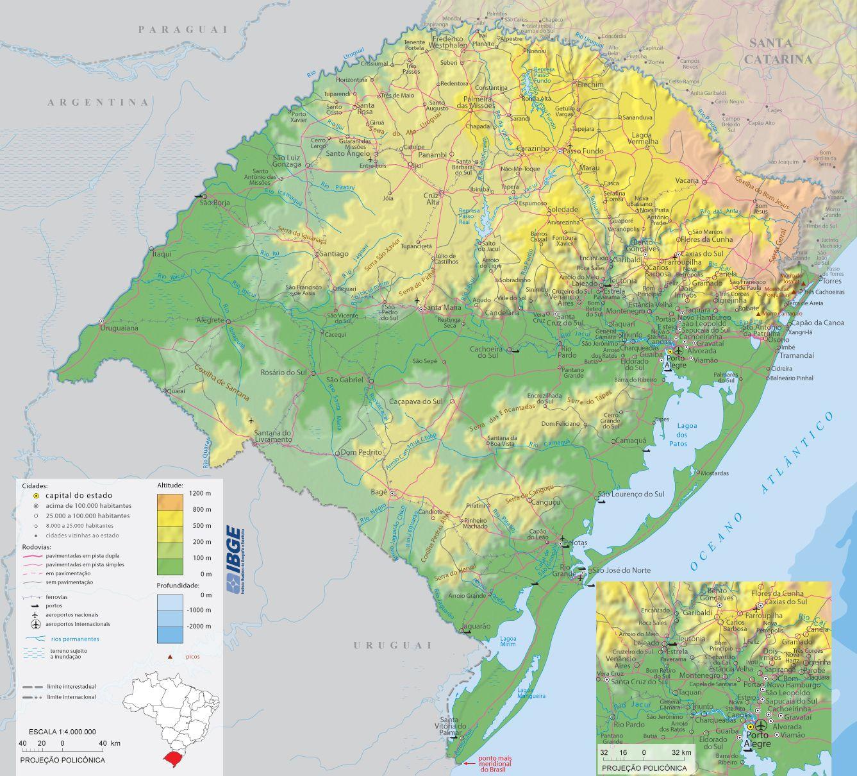 Rio Grande Mapa Fisico.Mapa Fisico Do Estado Do Rio Grande Do Sul Brazil Rio