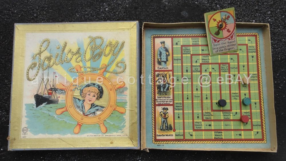 1905 antique BOARD GAME complete SAILOR BOY milton bradley captain of steamboat #MiltonBradley