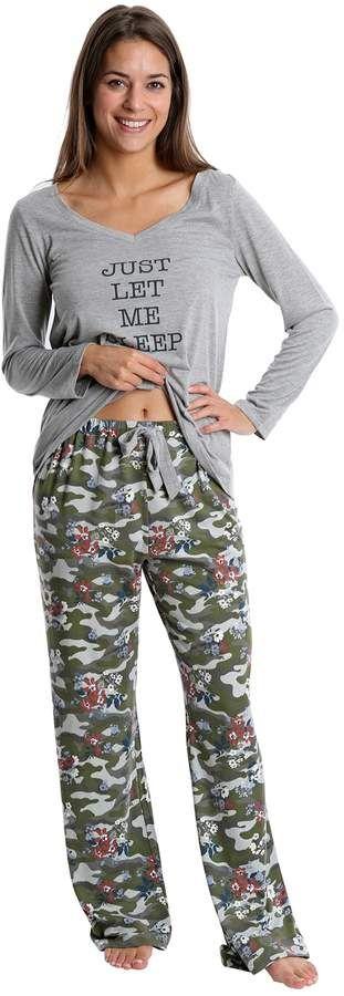ea8b877b3fcfc Juniors  WallFlower Graphic Sleep Tee   Printed Pants Pajama Set ...