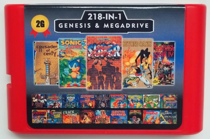 Super 218 in 1 Sega Genesis & Mega Drive Multi Cart 16Bit