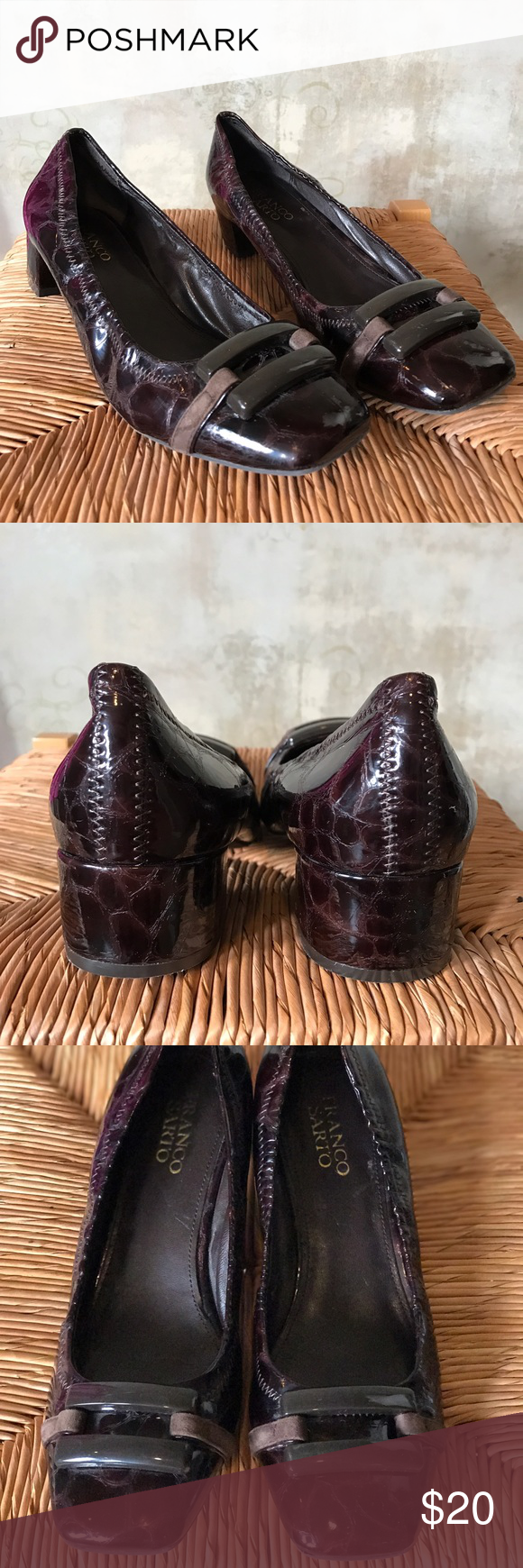 Franco Sarto Patent brown buckle heels Franco sarto heels in great condition.  Very comfortable shoes.   I had a shoe theme bridal shower so I received a lot of shoes new and some only worn a couple of times so check out my other listings.  Bundle and save 15% Franco Sarto Shoes Heels