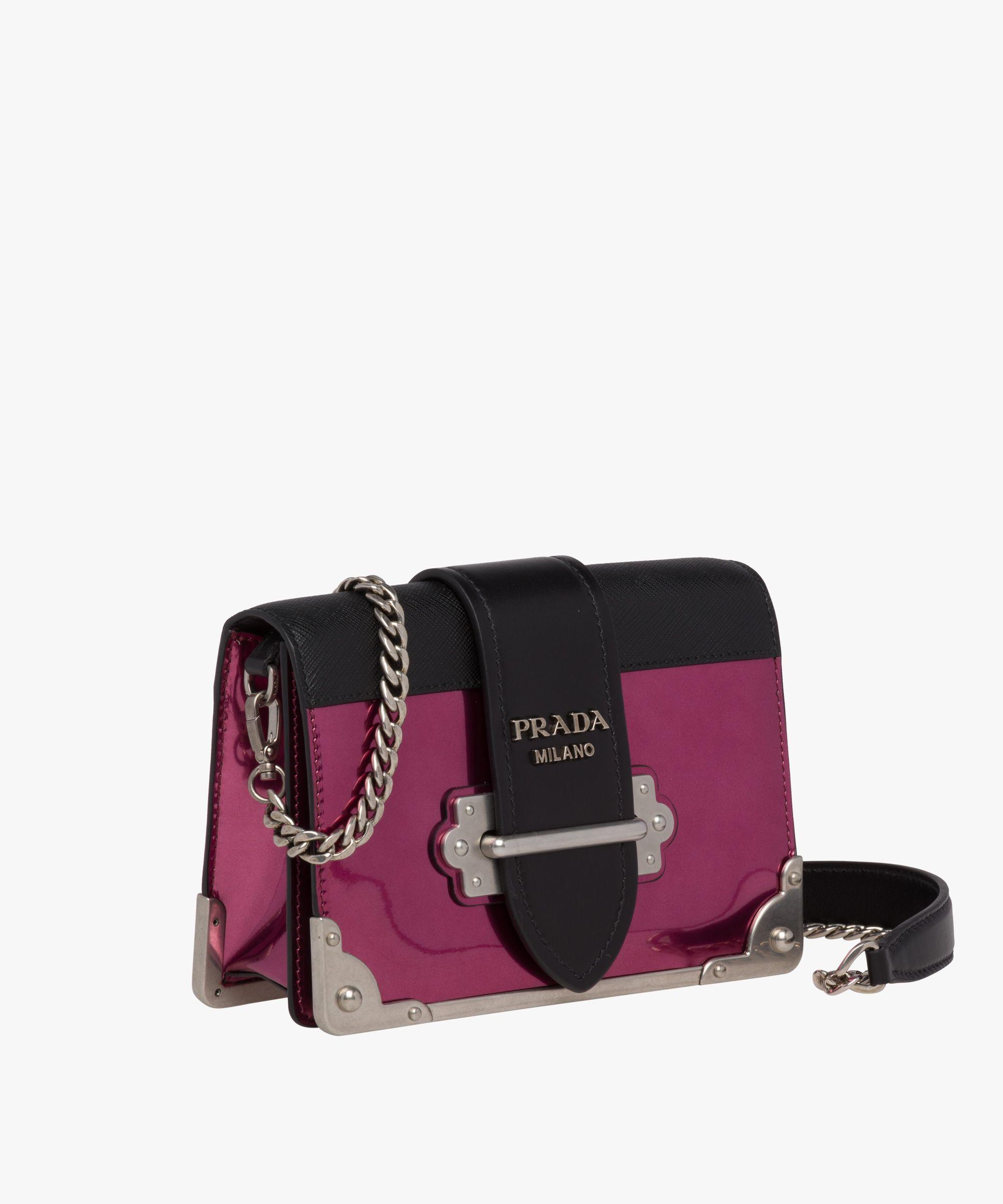 Prada - Cahier hibiscus black metallic leather shoulder bag  8c48a5d084eb6