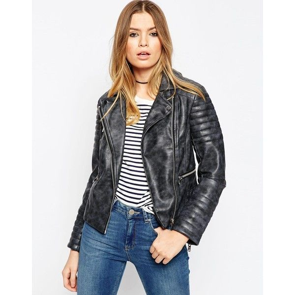 ASOS Biker Jacket in Washed PU (135 AUD) ❤ liked on Polyvore featuring outerwear, jackets, grey, zipper jacket, charcoal jacket, moto biker jacket, zip jacket and asos jackets