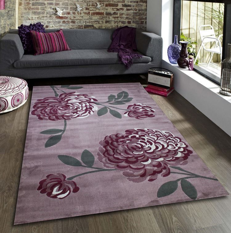 Maria Bloom Mauve Flower Pattern Extra Large Modern Home Floor Rug 120x170cm In Furniture