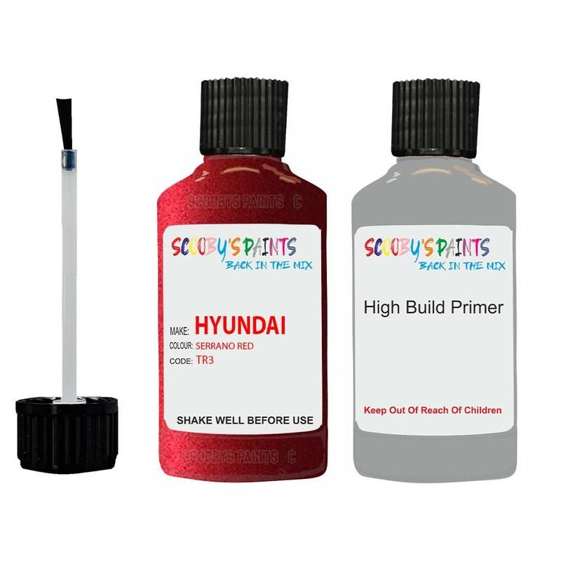 Hyundai Santa Fe Serrano Red Tr3 Car Touch Up Paint Scratch Repair - Touch Up Paint With Anti Rust High Build Primer