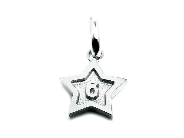 Pt900 platinum number 6 pendant charms star frame 6 numbers mozeypictures Images