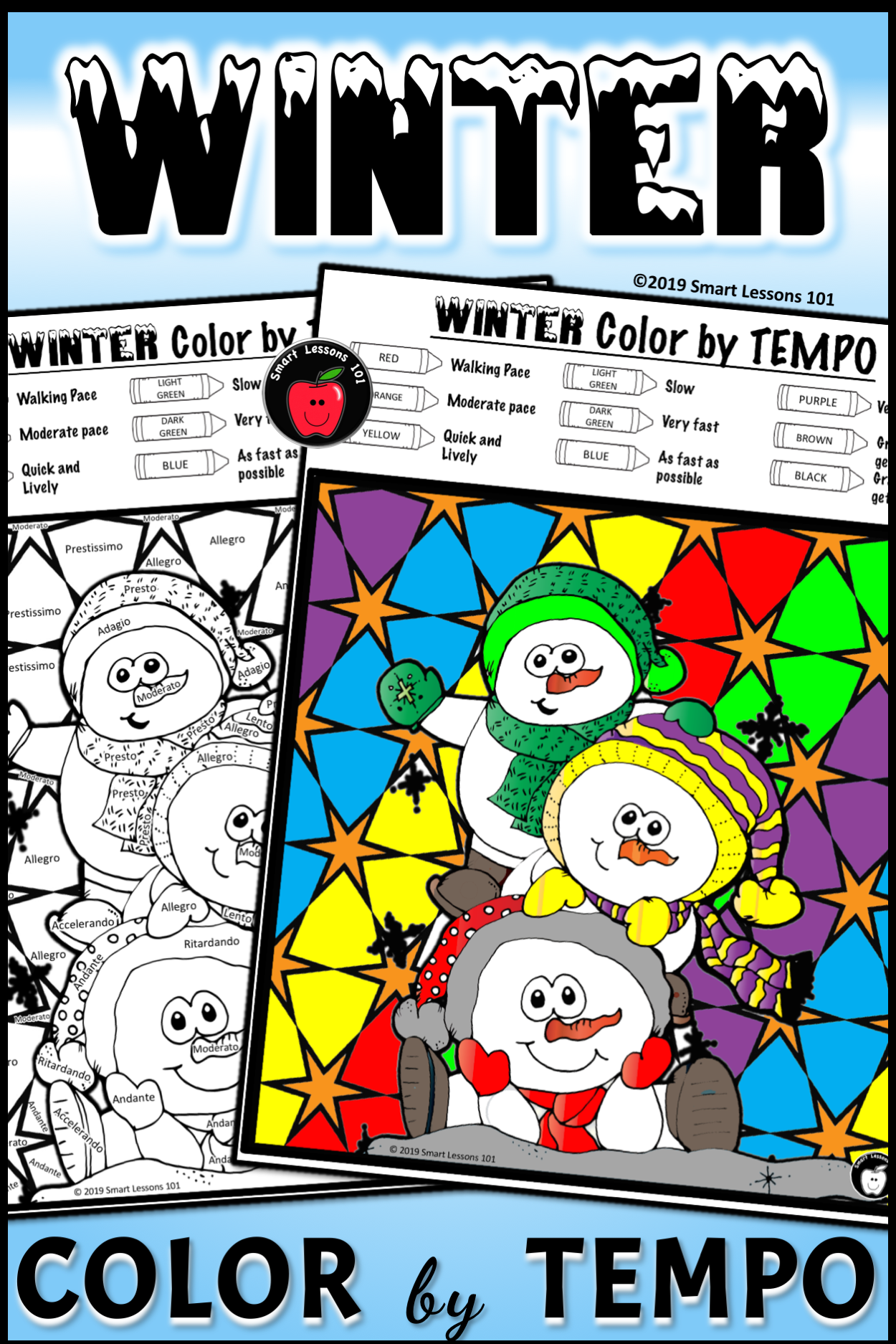 Distance Learning Winter Music Color By Code Worksheet