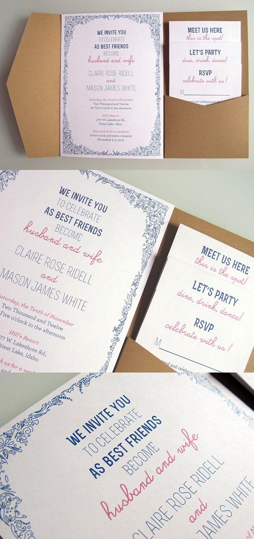 Custom Designed Kraft Paper Pocket Fold Invitation. $6.50, via Etsy ...